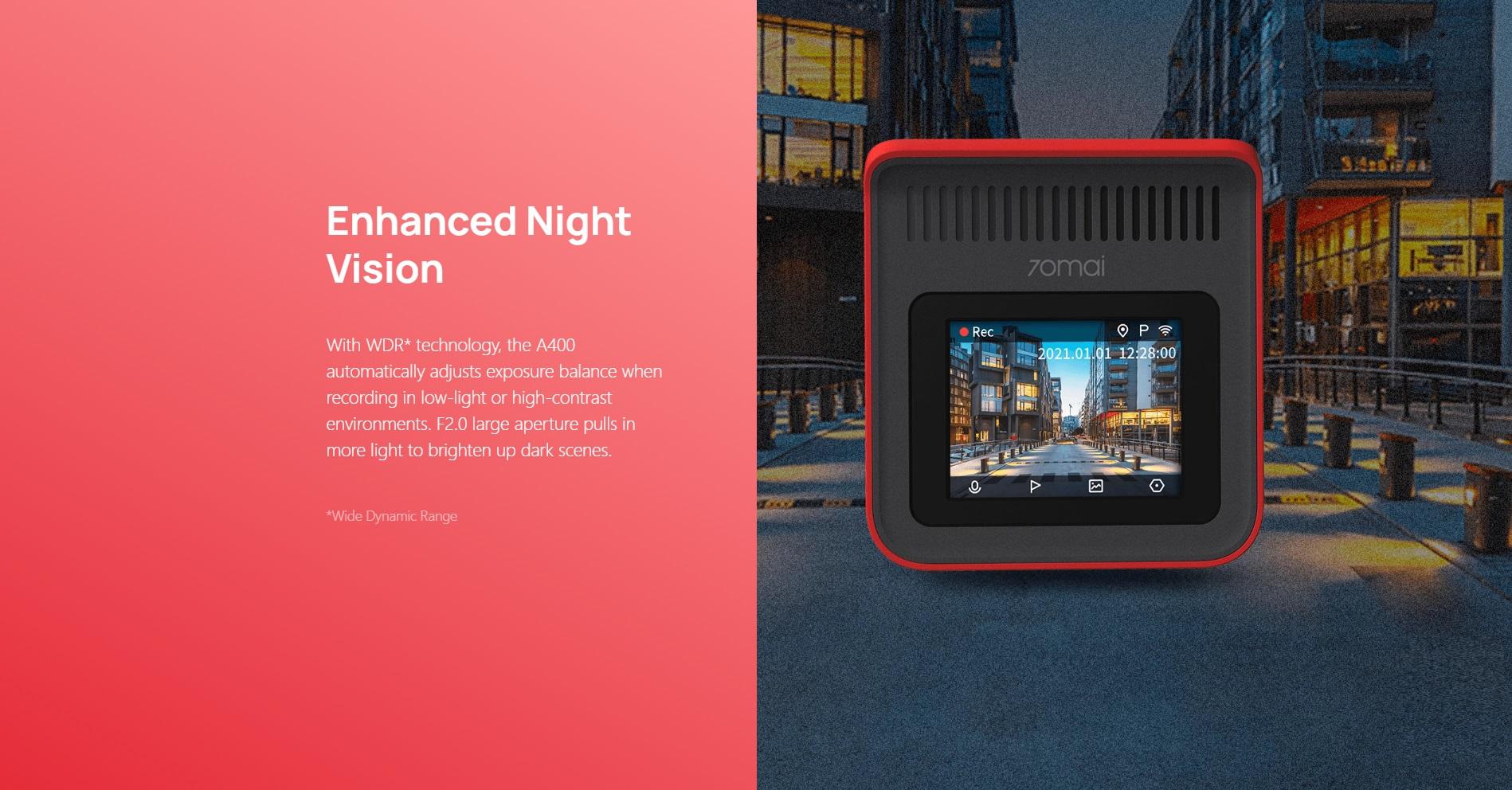 Xiaomi 70mai Dash Cam A400 Pametna Avto Kamera + 70mai RC09 Zadnja