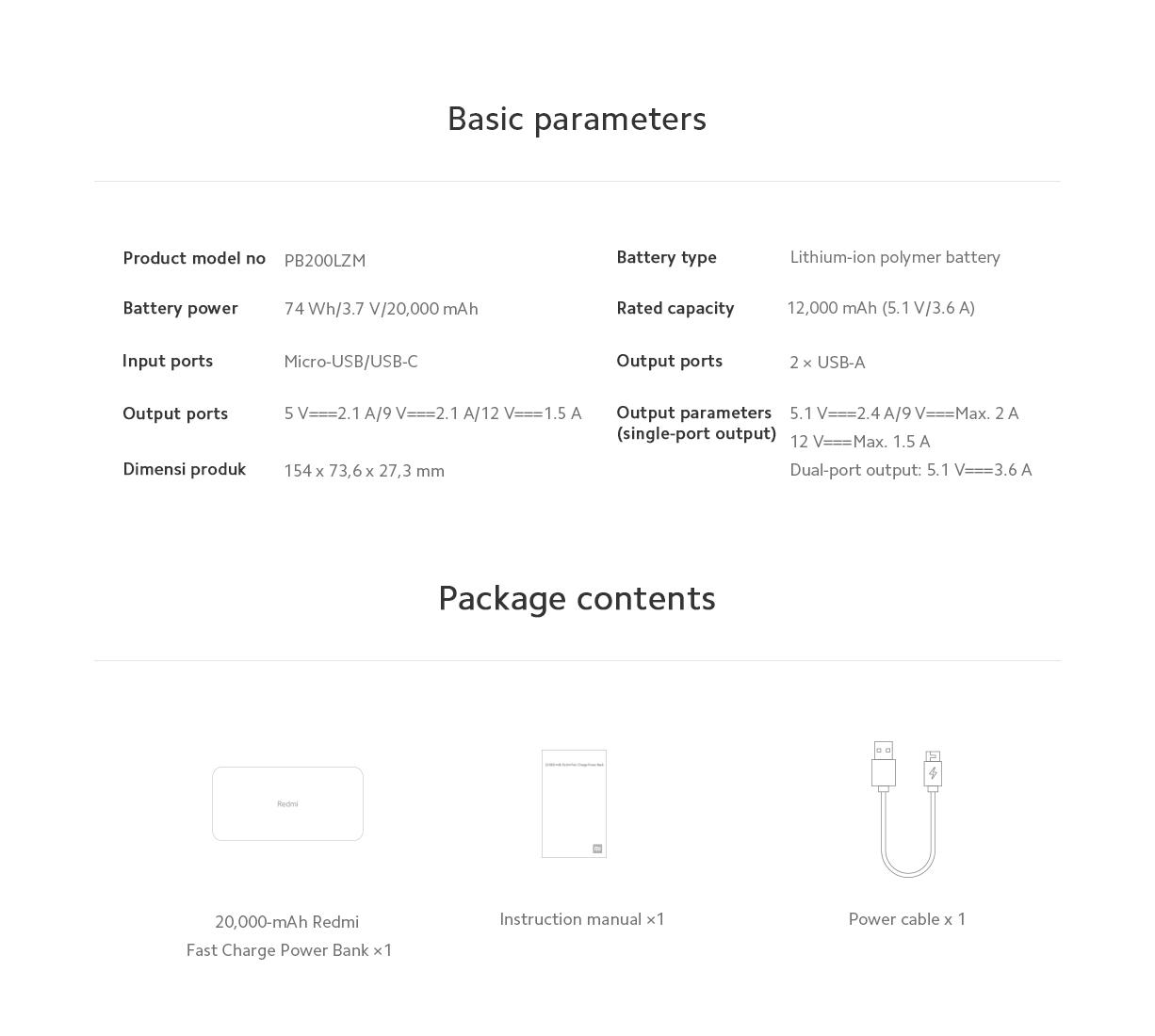 Polnilna Baterija Xiaomi Redmi Power bank