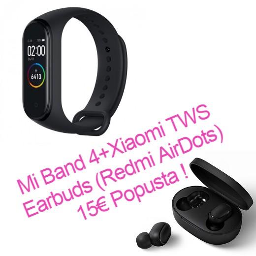 Xiaomi Mi Band 4 Pametna zapestnica Črna + Xiaomi TWS Earbuds (Redmi AirDots) 15€ Popusta!